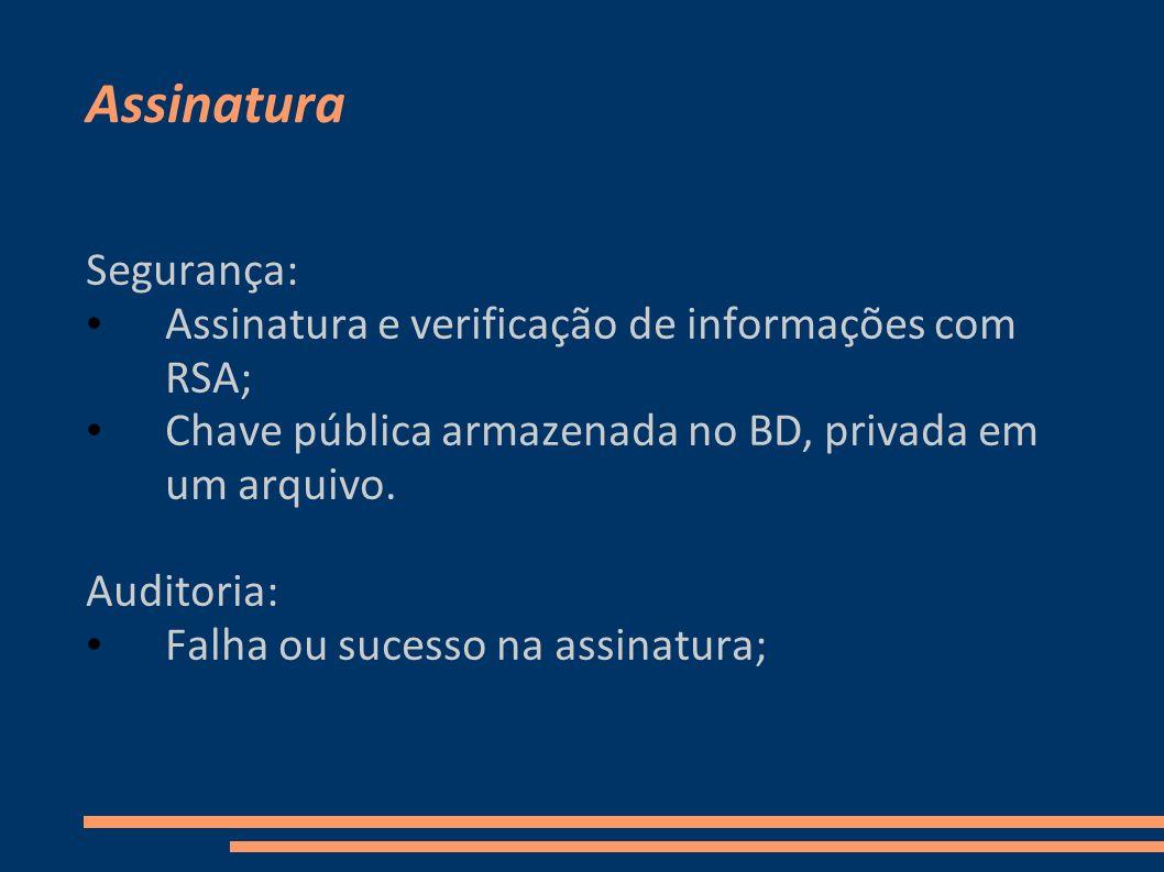 Assinatura Segurança: Assinatura e verificação de informações com RSA;