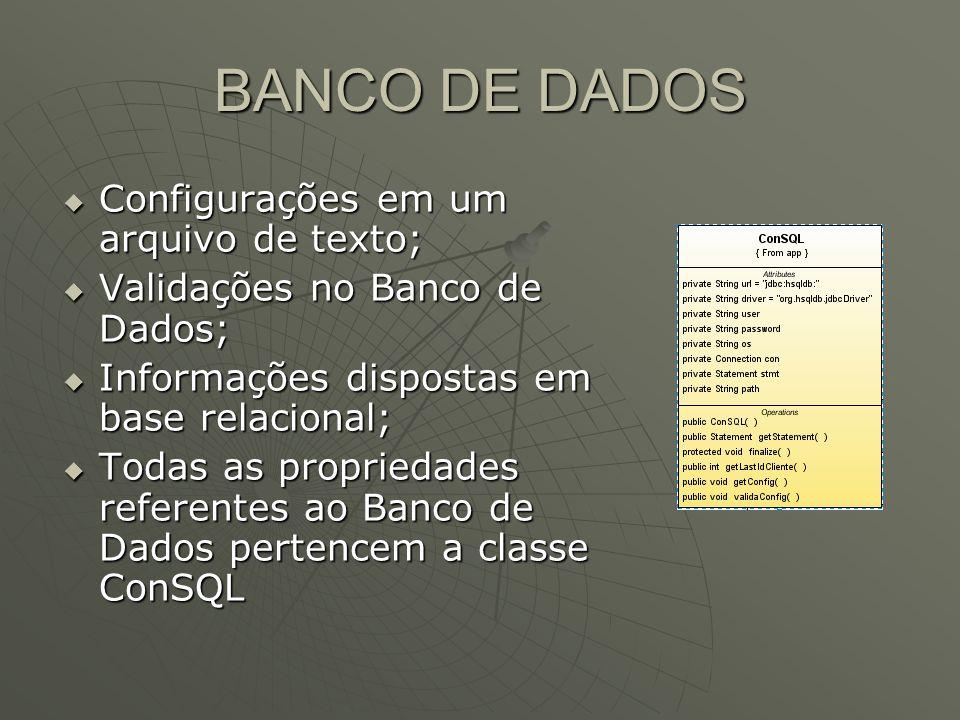 BANCO DE DADOS Configurações em um arquivo de texto;