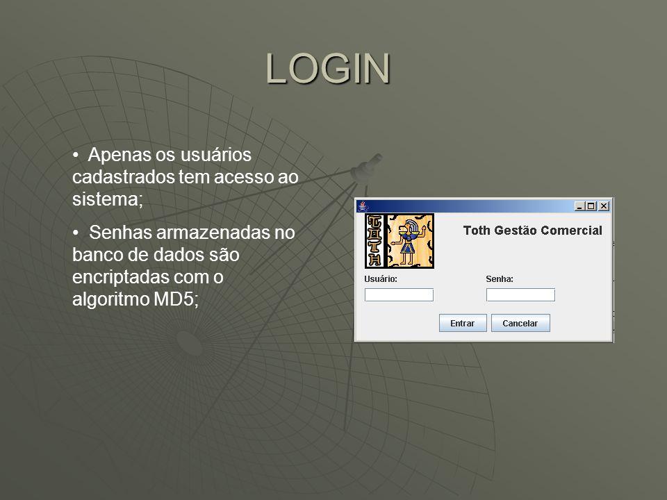 LOGIN Apenas os usuários cadastrados tem acesso ao sistema;