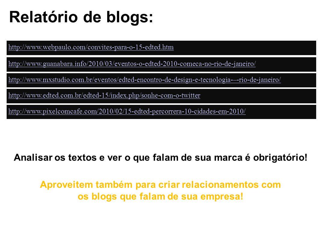 Relatório de blogs: http://www.webpaulo.com/convites-para-o-15-edted.htm.
