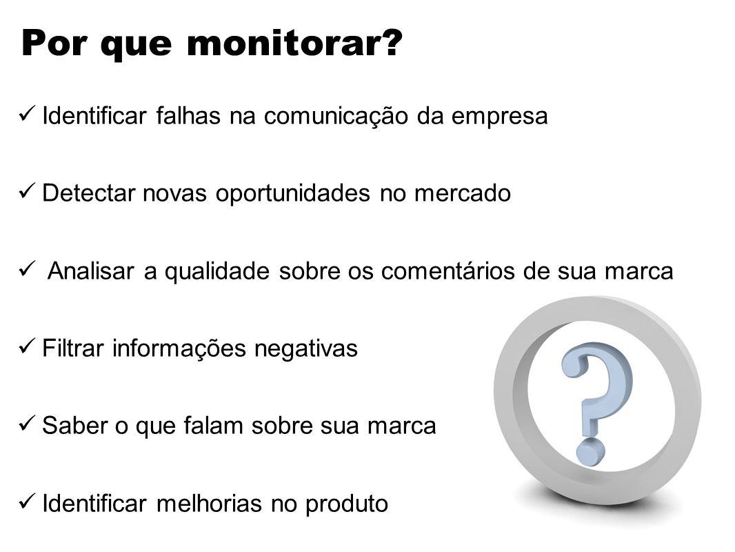 Por que monitorar Identificar falhas na comunicação da empresa