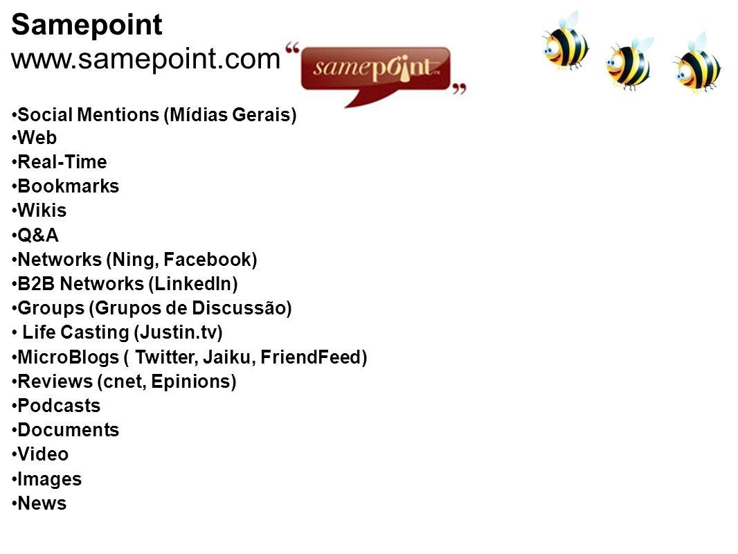 Samepoint www.samepoint.com Social Mentions (Mídias Gerais) Web