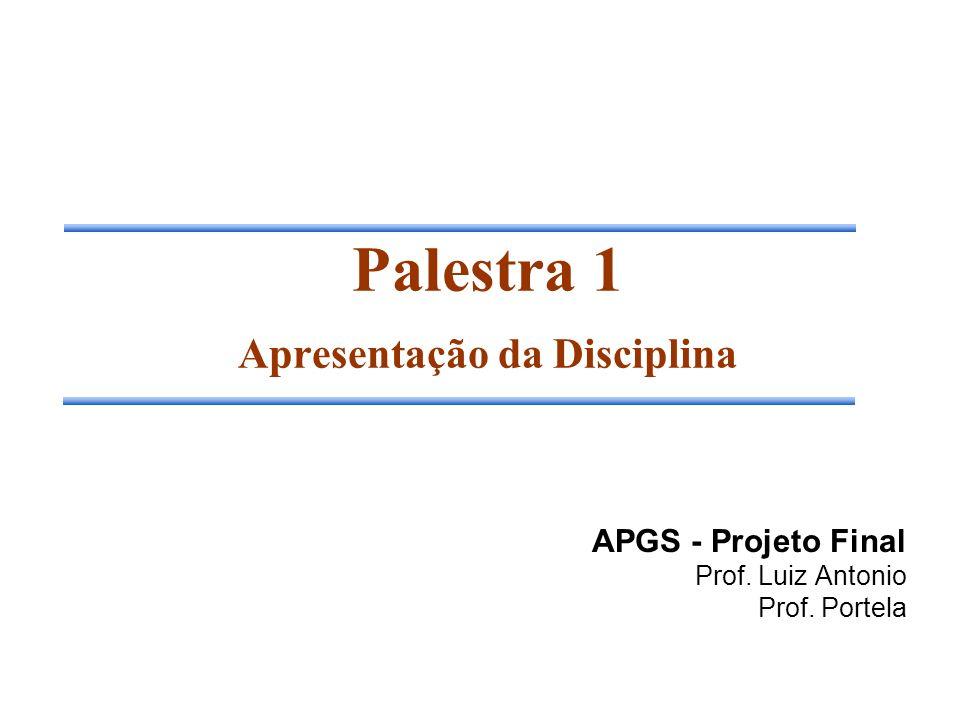 Palestra 1 Apresentação da Disciplina
