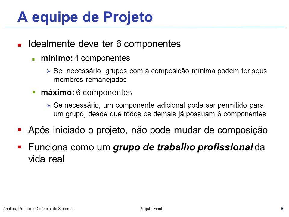 A equipe de Projeto Idealmente deve ter 6 componentes