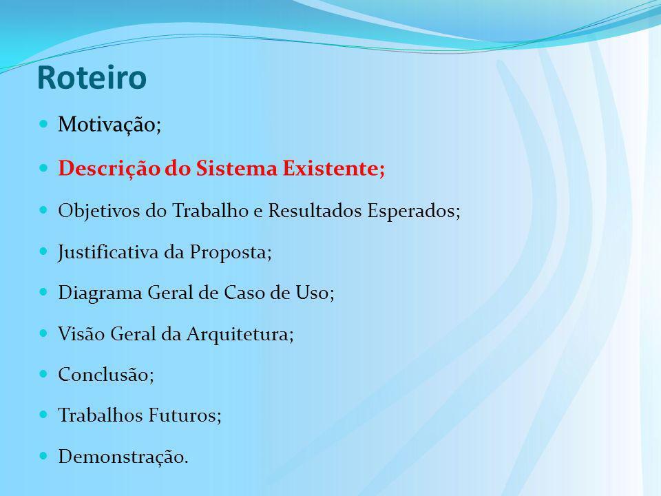 Roteiro Motivação; Descrição do Sistema Existente;
