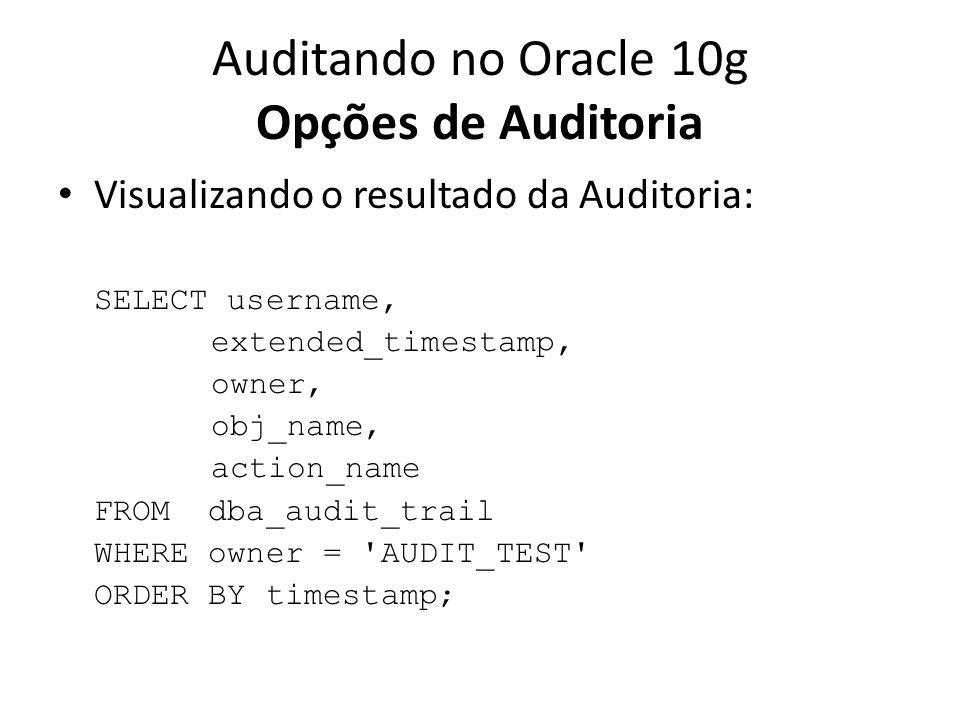 Auditando no Oracle 10g Opções de Auditoria