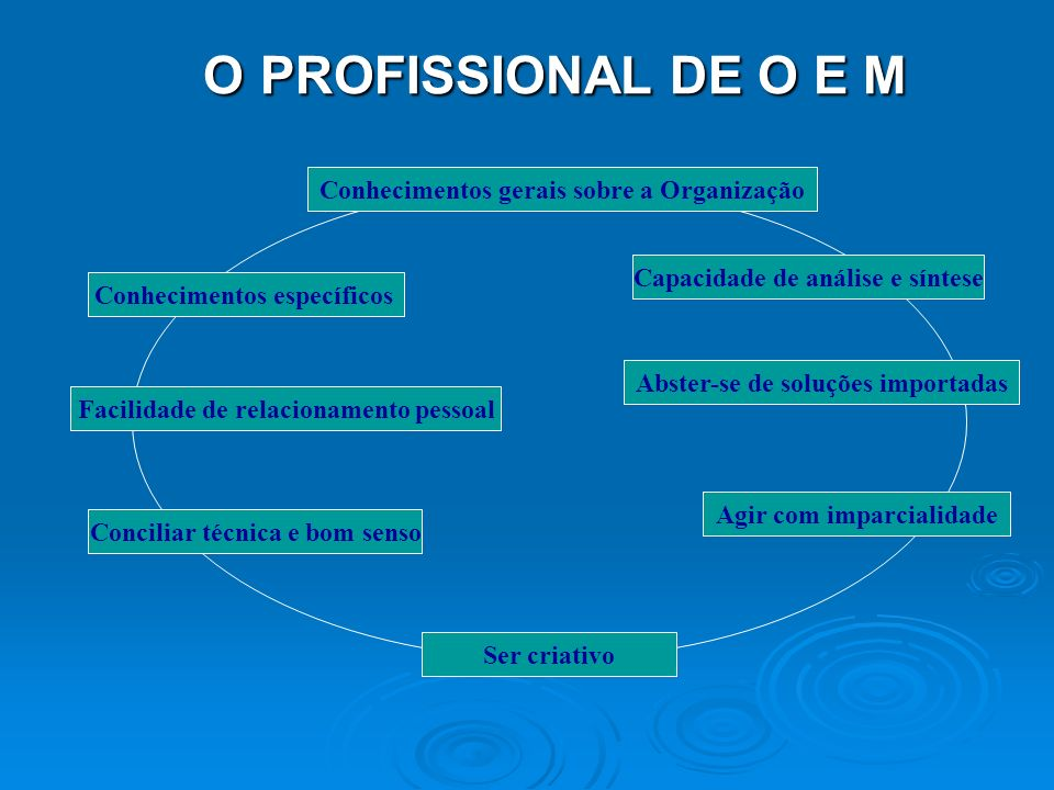 O PROFISSIONAL DE O E M Conhecimentos gerais sobre a Organização