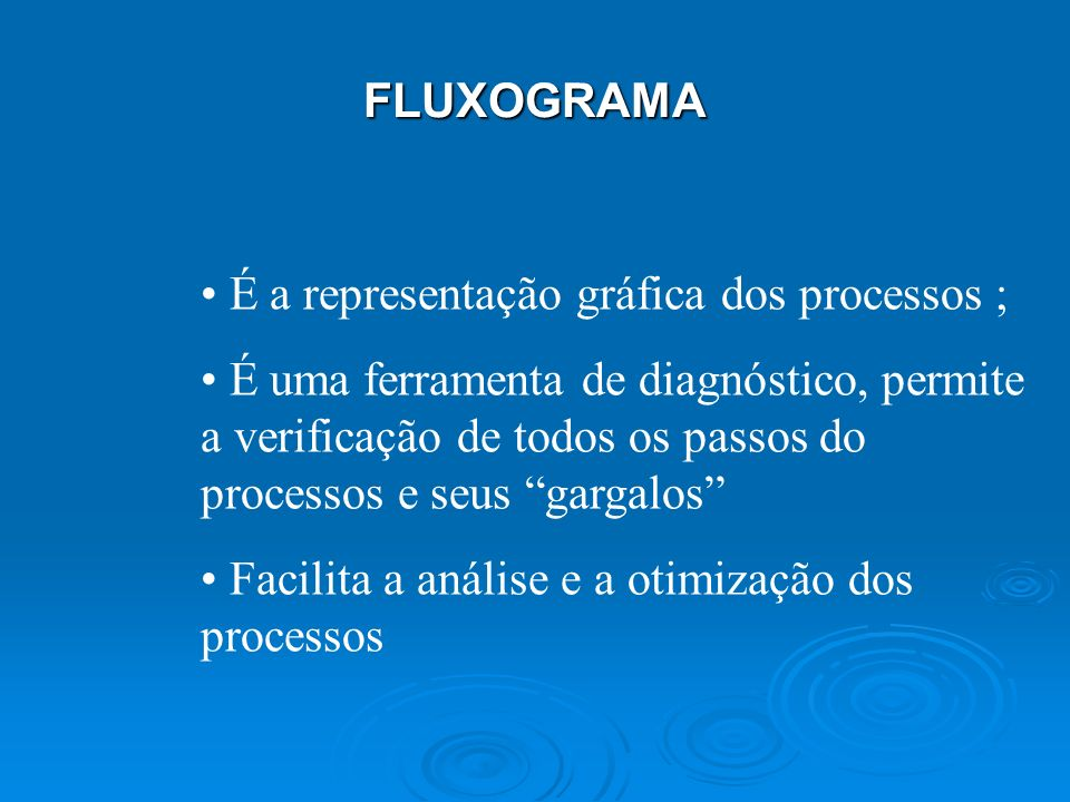 FLUXOGRAMA É a representação gráfica dos processos ;