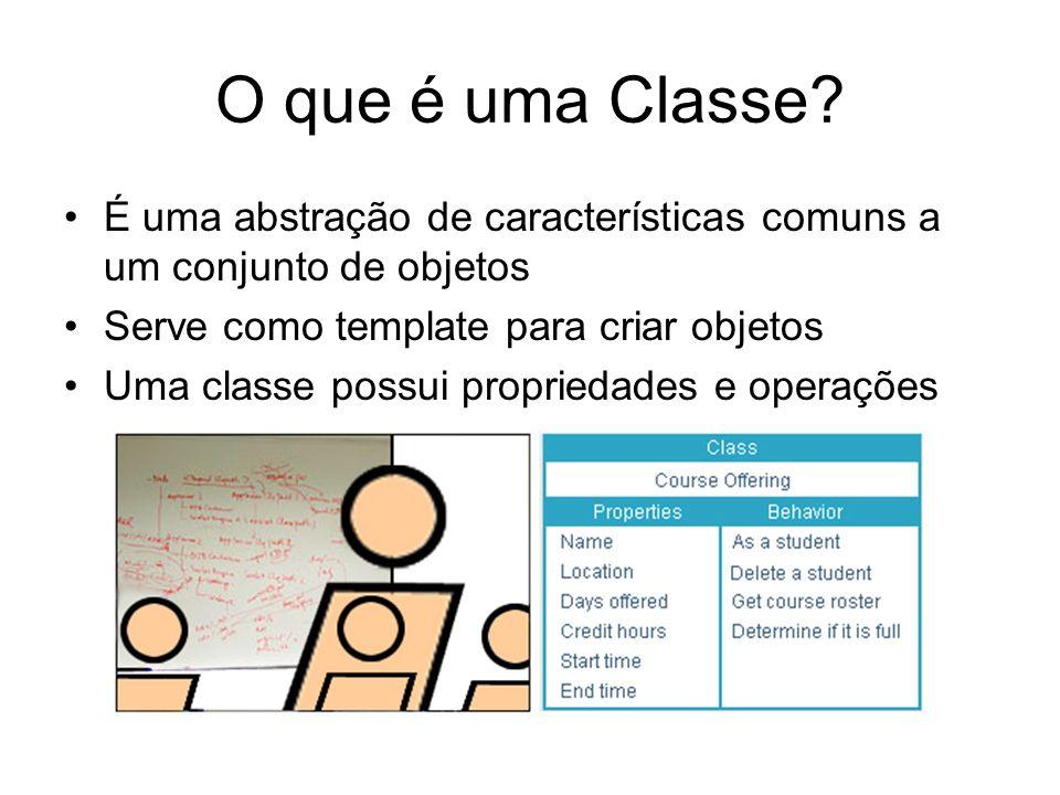 O que é uma Classe É uma abstração de características comuns a um conjunto de objetos. Serve como template para criar objetos.
