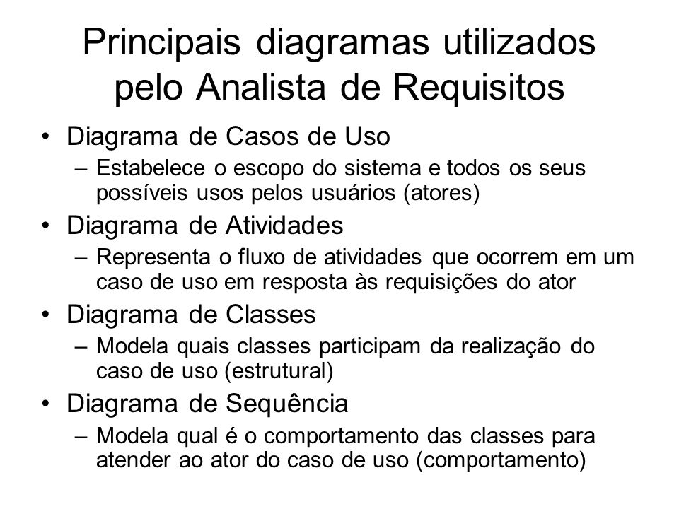 Principais diagramas utilizados pelo Analista de Requisitos