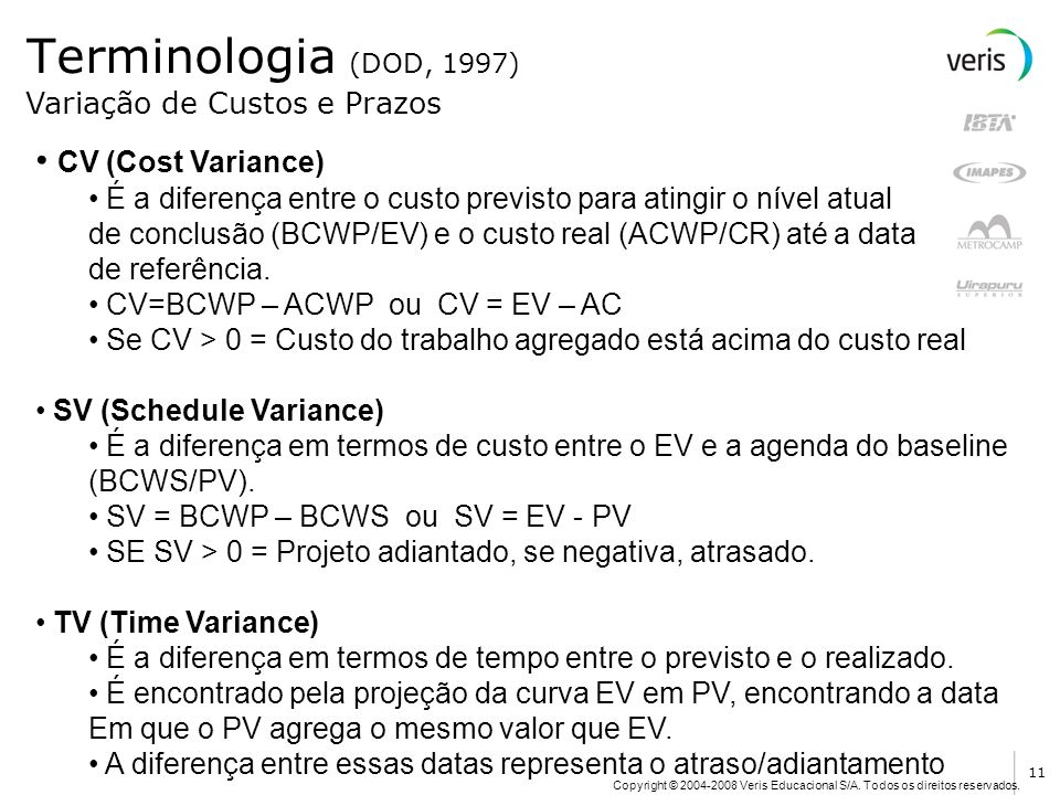 Terminologia (DOD, 1997) CV (Cost Variance)