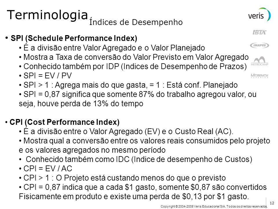 Terminologia SPI (Schedule Performance Index) Índices de Desempenho