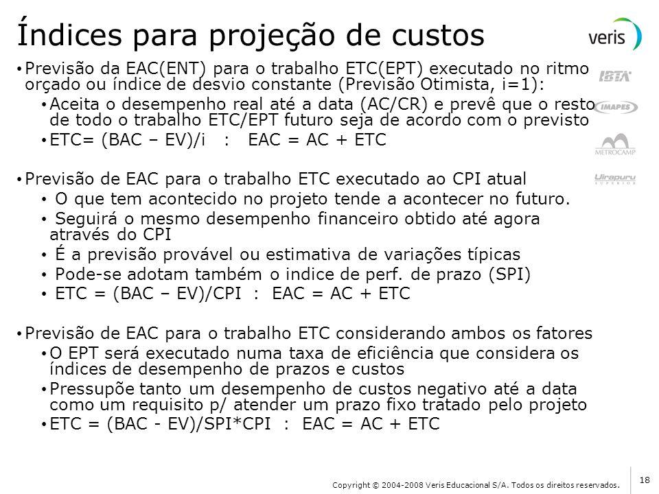 Índices para projeção de custos