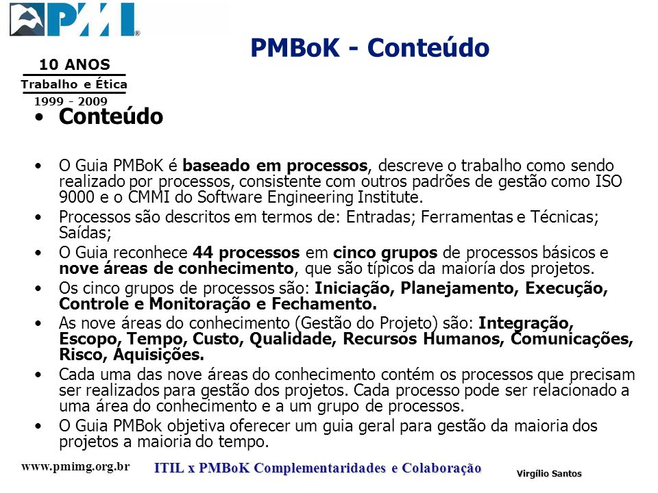 PMBoK - Conteúdo Conteúdo