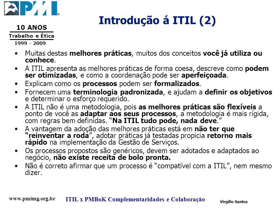 Introdução á ITIL (2) Muitas destas melhores práticas, muitos dos conceitos você já utiliza ou conhece.