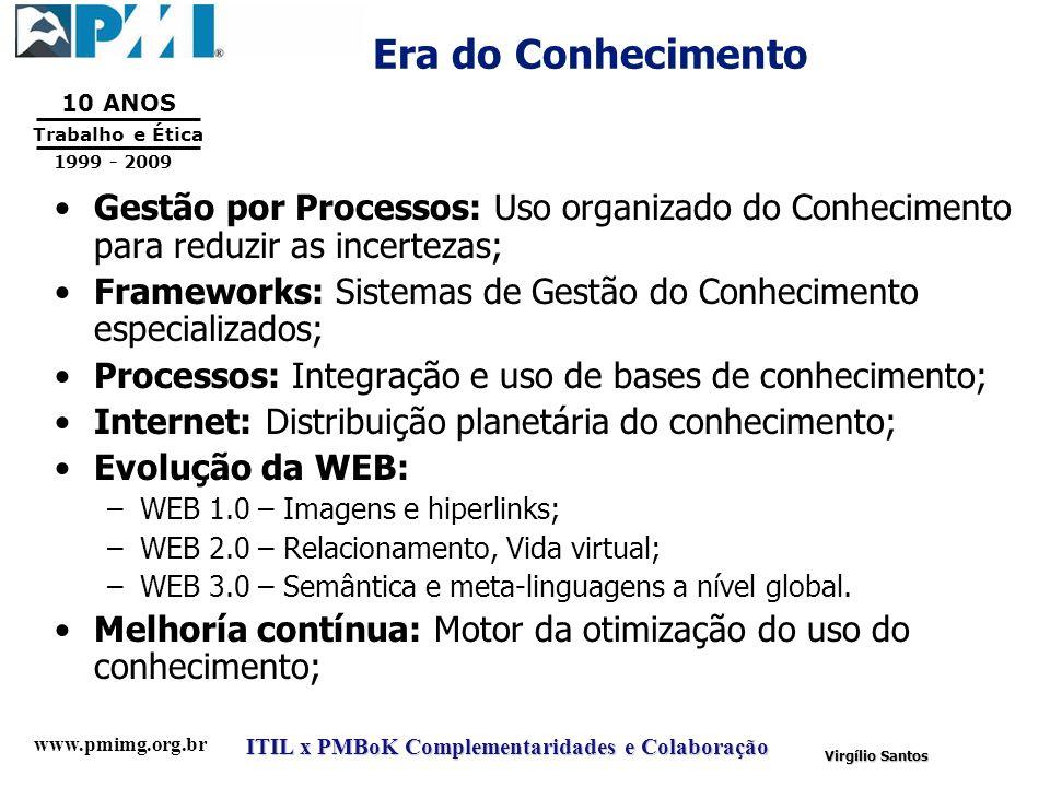 Era do Conhecimento Gestão por Processos: Uso organizado do Conhecimento para reduzir as incertezas;