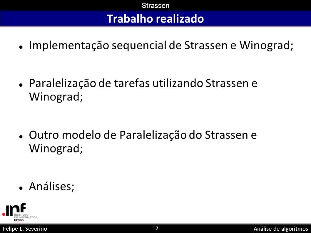 Trabalho realizado Implementação sequencial de Strassen e Winograd; Paralelização de tarefas utilizando Strassen e Winograd;