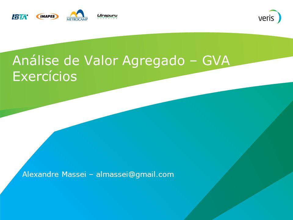 Análise de Valor Agregado – GVA Exercícios