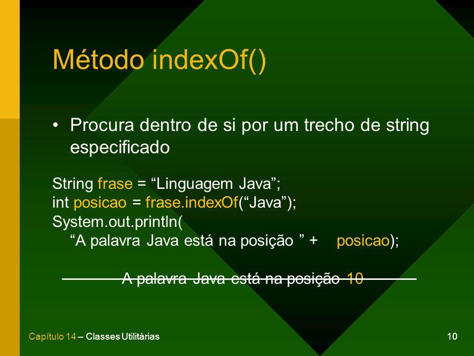 A palavra Java está na posição 10