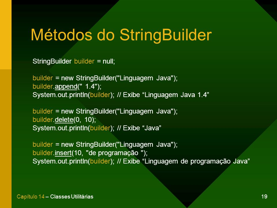 Métodos do StringBuilder