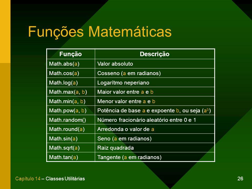 Funções Matemáticas Função Descrição Math.abs(a) Valor absoluto