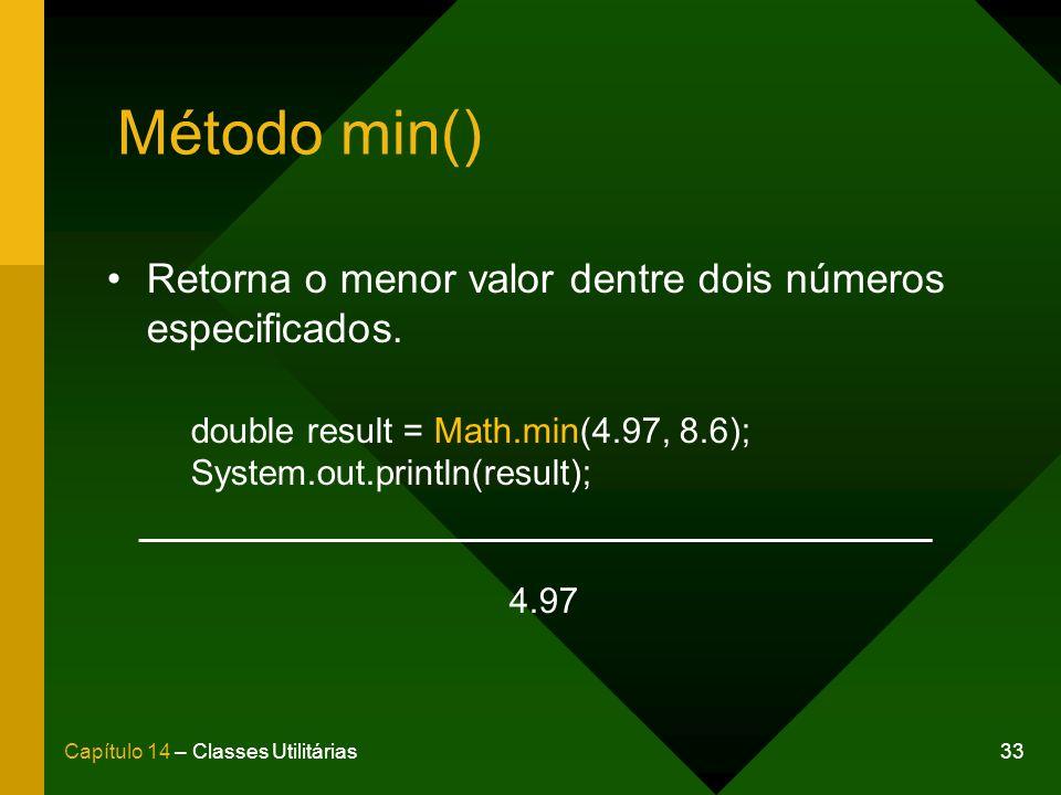 Método min() Retorna o menor valor dentre dois números especificados.