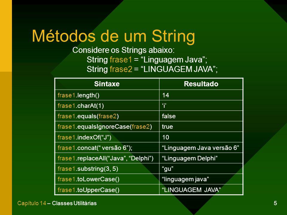 Métodos de um String Considere os Strings abaixo: