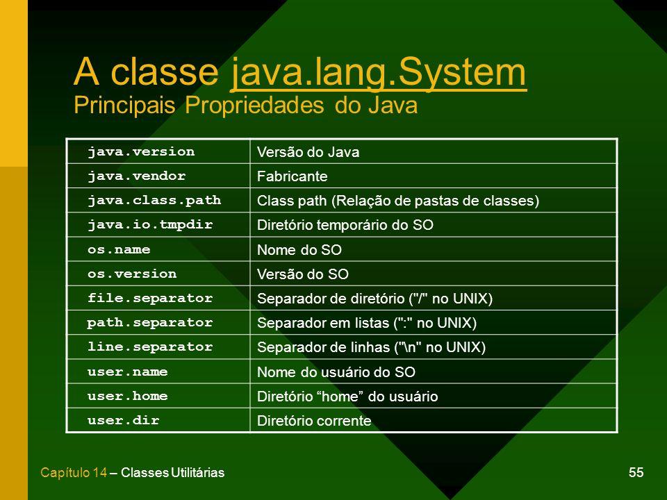 A classe java.lang.System Principais Propriedades do Java