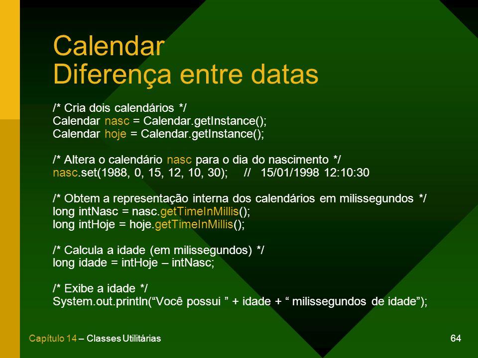 Calendar Diferença entre datas