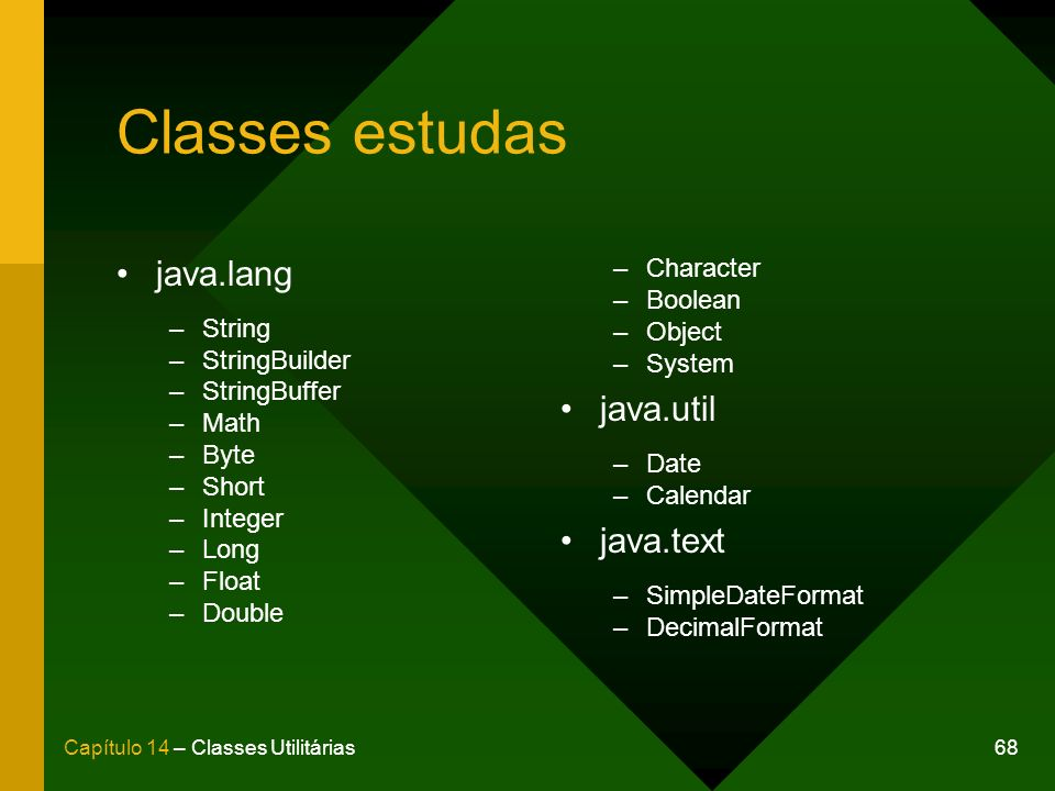 Classes estudas java.lang java.util java.text Character Boolean String