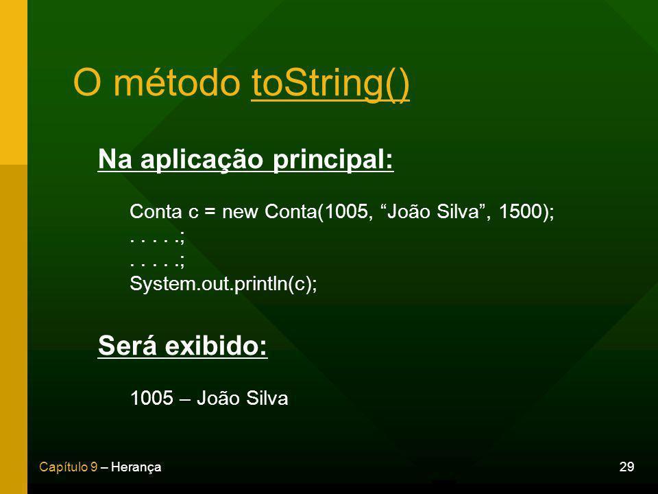 O método toString() Na aplicação principal: Será exibido: