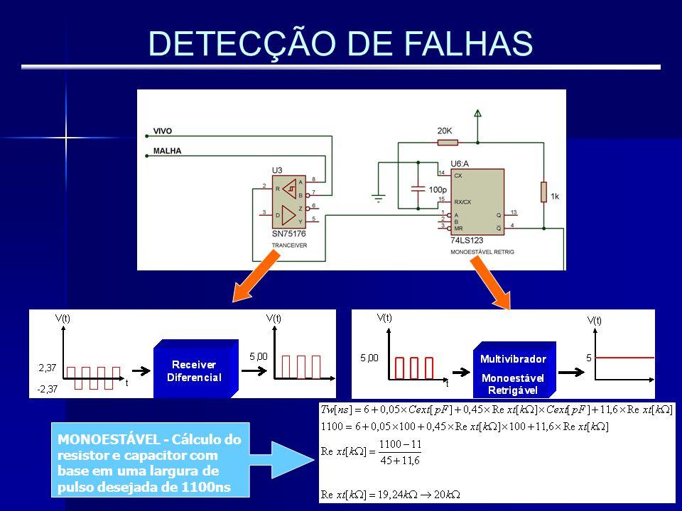 DETECÇÃO DE FALHAS MONOESTÁVEL - Cálculo do resistor e capacitor com base em uma largura de pulso desejada de 1100ns.