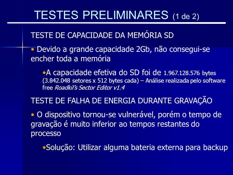 TESTES PRELIMINARES (1 de 2)