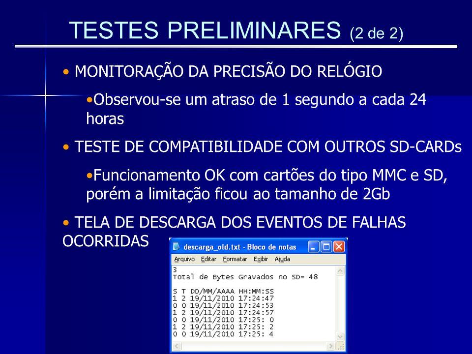 TESTES PRELIMINARES (2 de 2)