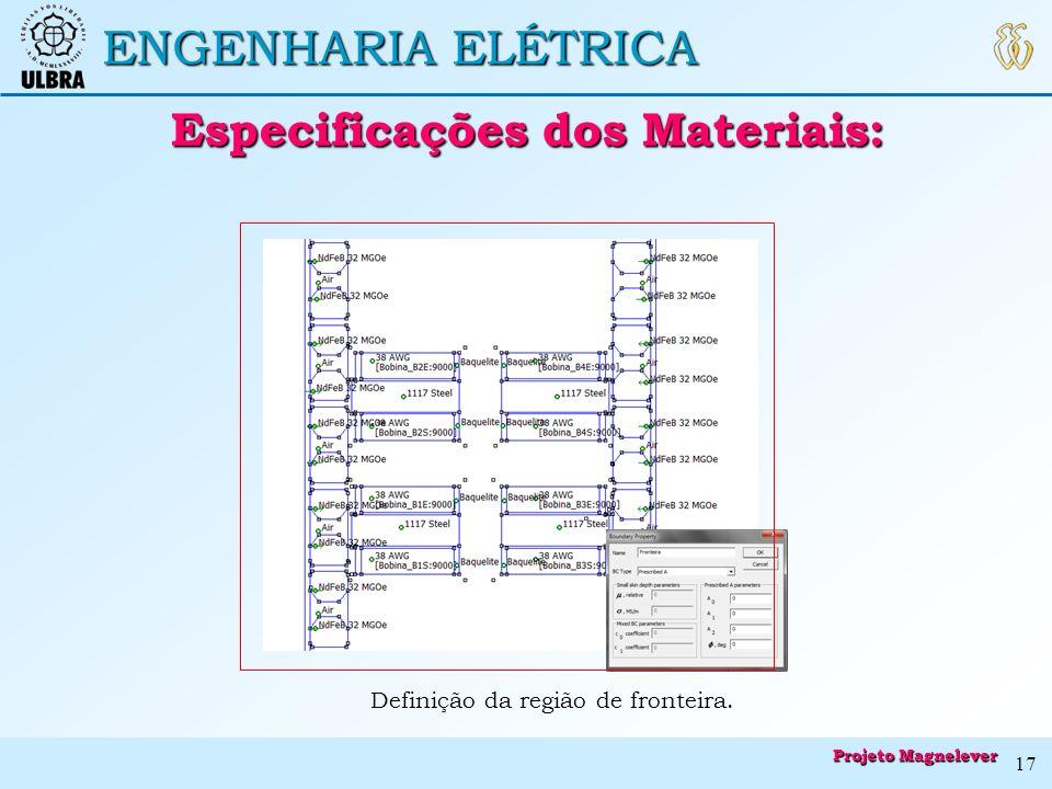 Especificações dos Materiais: