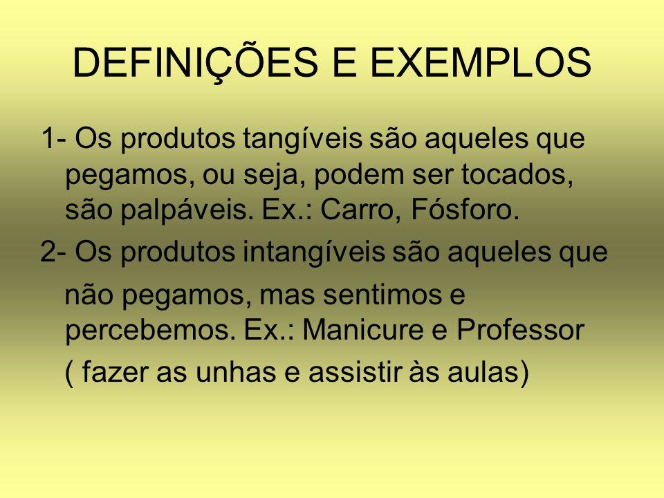 DEFINIÇÕES E EXEMPLOS 1- Os produtos tangíveis são aqueles que pegamos, ou seja, podem ser tocados, são palpáveis. Ex.: Carro, Fósforo.