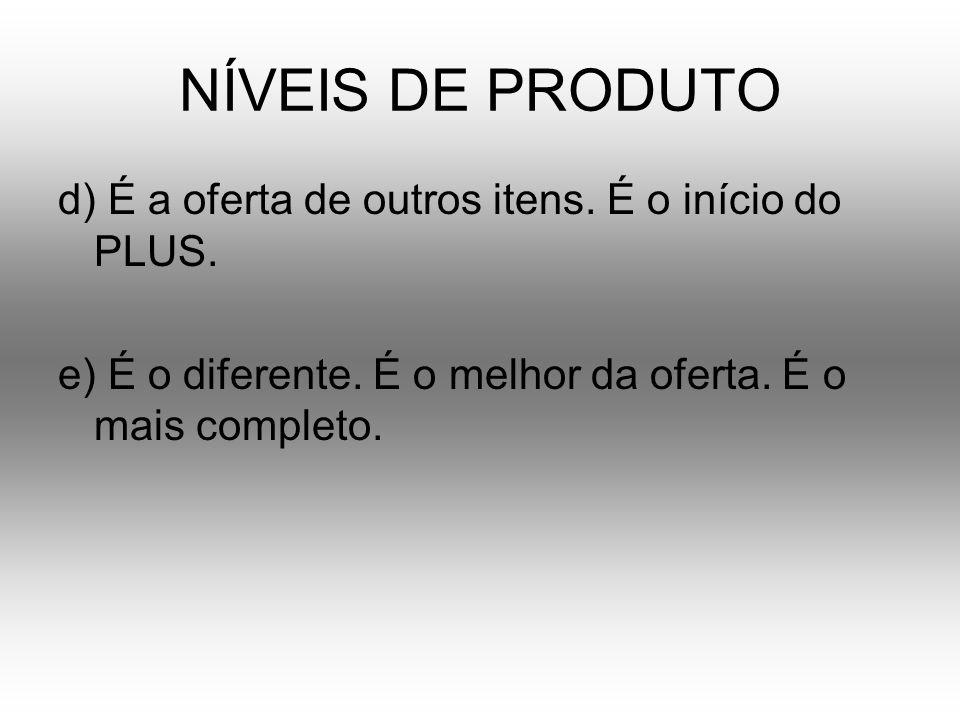 NÍVEIS DE PRODUTO d) É a oferta de outros itens. É o início do PLUS.