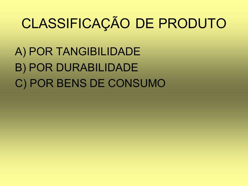 CLASSIFICAÇÃO DE PRODUTO