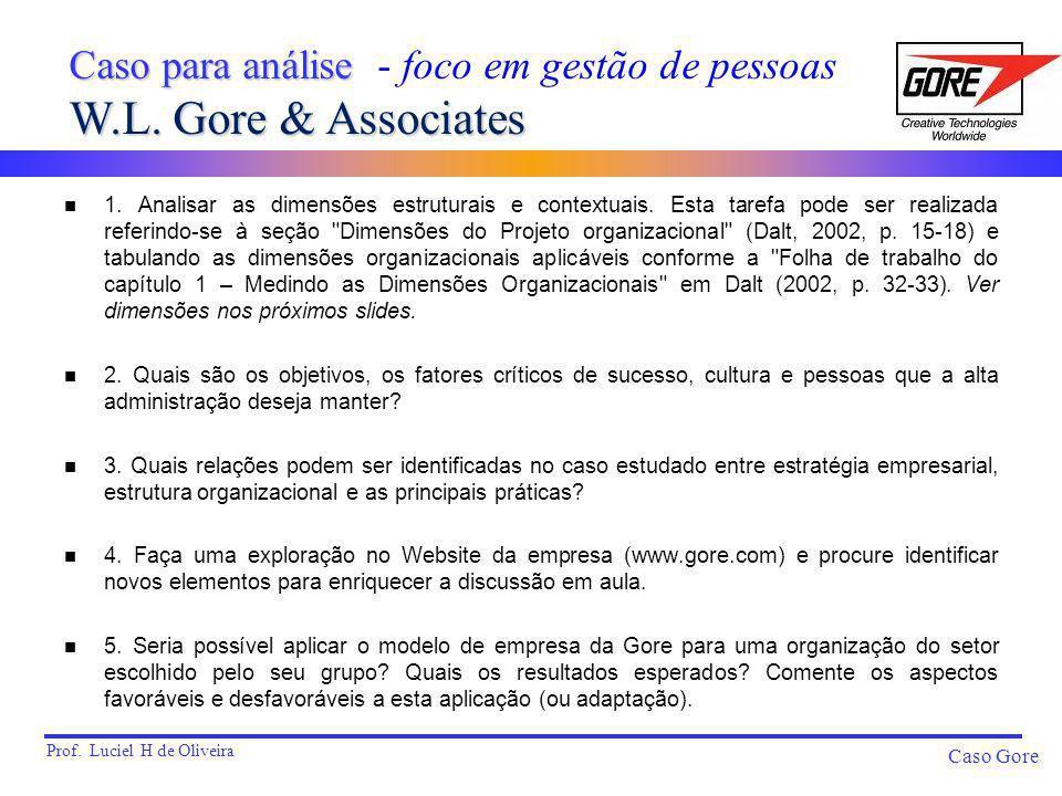 Caso para análise - foco em gestão de pessoas W.L. Gore & Associates