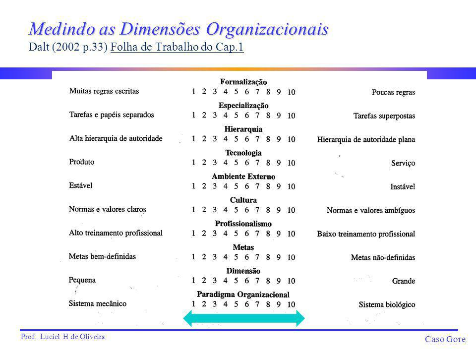 Medindo as Dimensões Organizacionais Dalt (2002 p