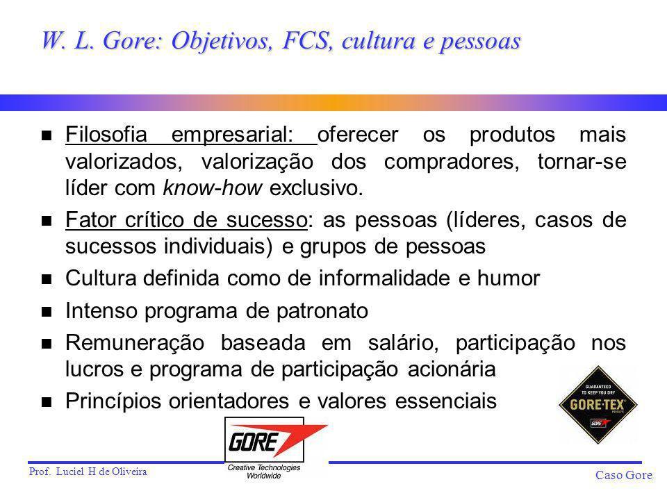 W. L. Gore: Objetivos, FCS, cultura e pessoas