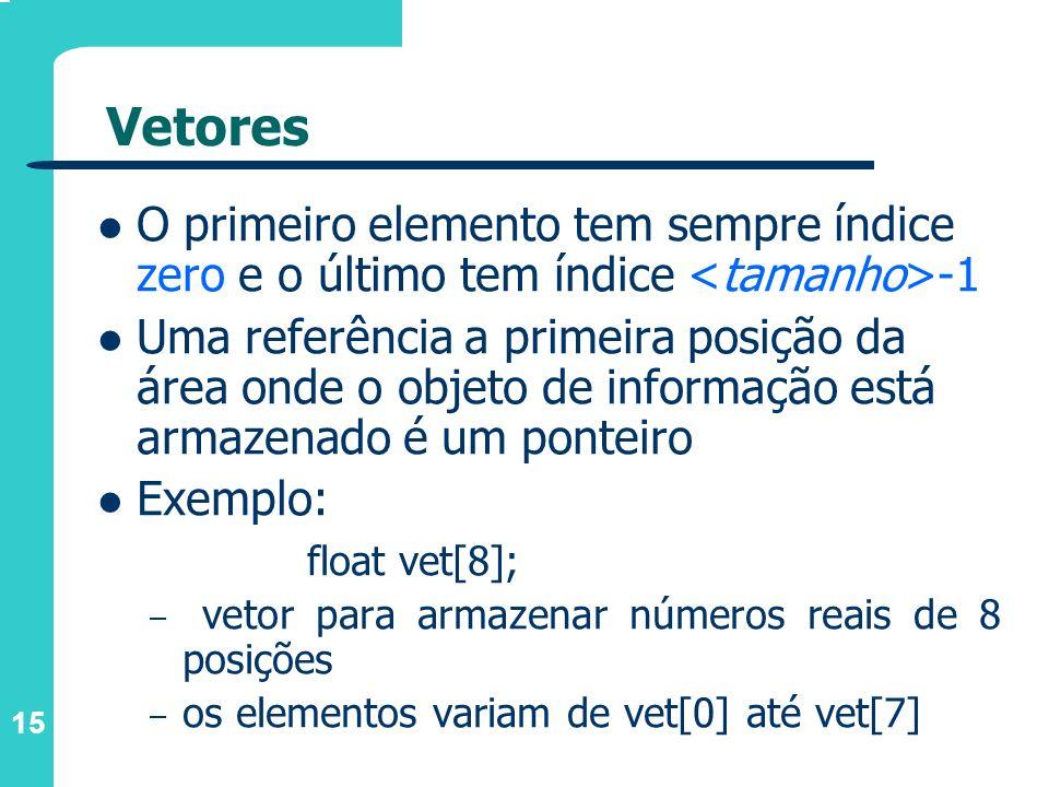 Vetores O primeiro elemento tem sempre índice zero e o último tem índice <tamanho>-1.