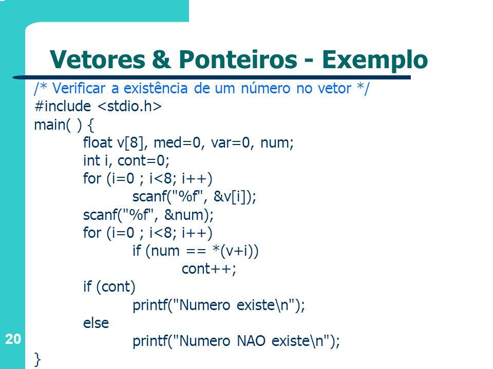Vetores & Ponteiros - Exemplo