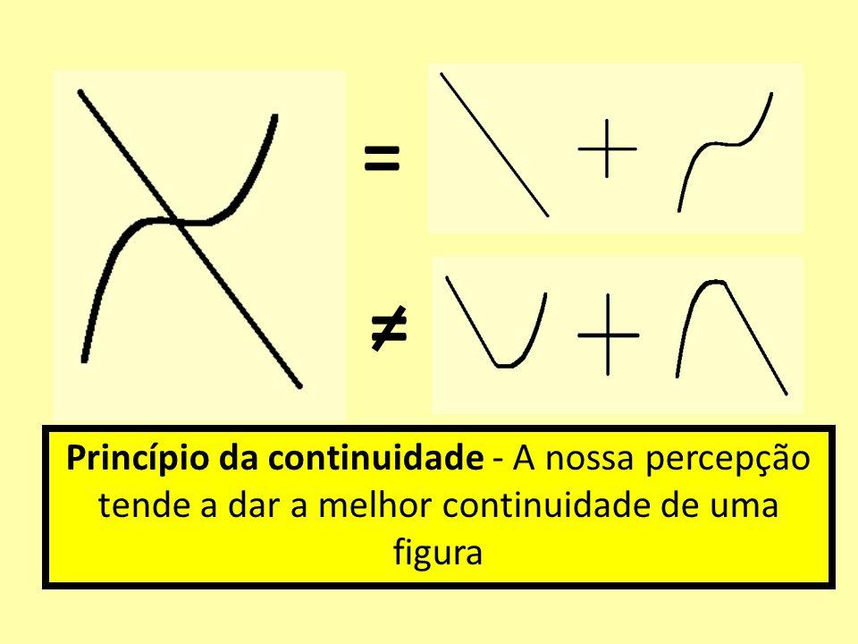 = = Princípio da continuidade - A nossa percepção tende a dar a melhor continuidade de uma figura