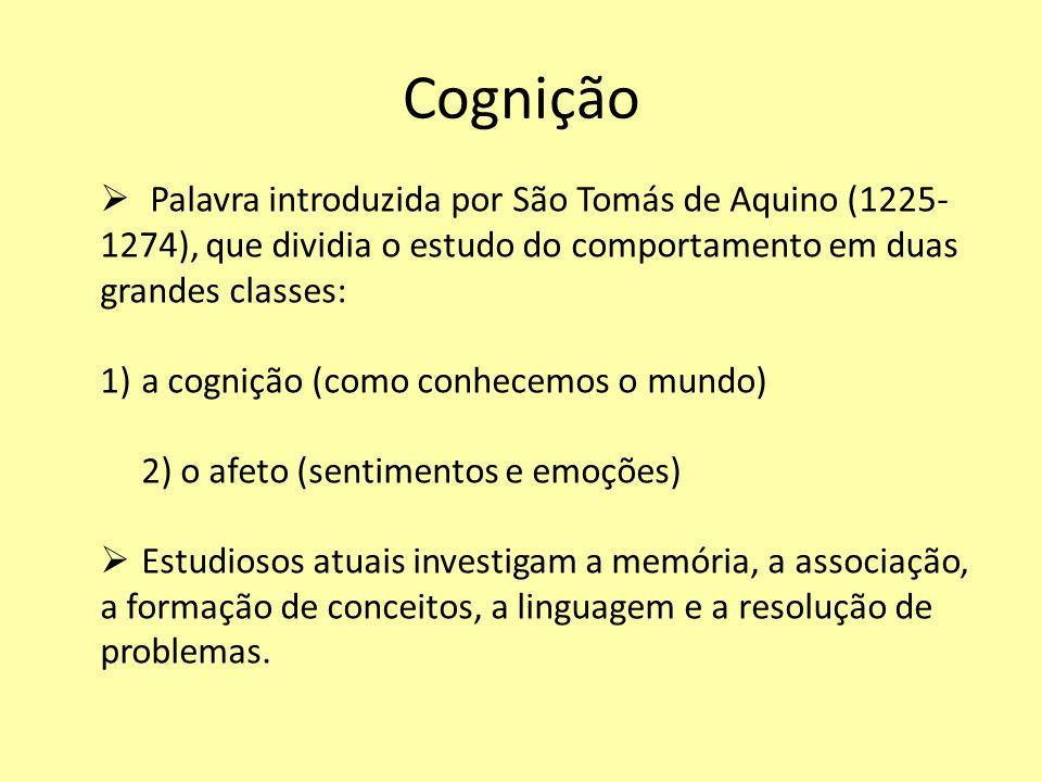 Cognição Palavra introduzida por São Tomás de Aquino (1225-1274), que dividia o estudo do comportamento em duas grandes classes: