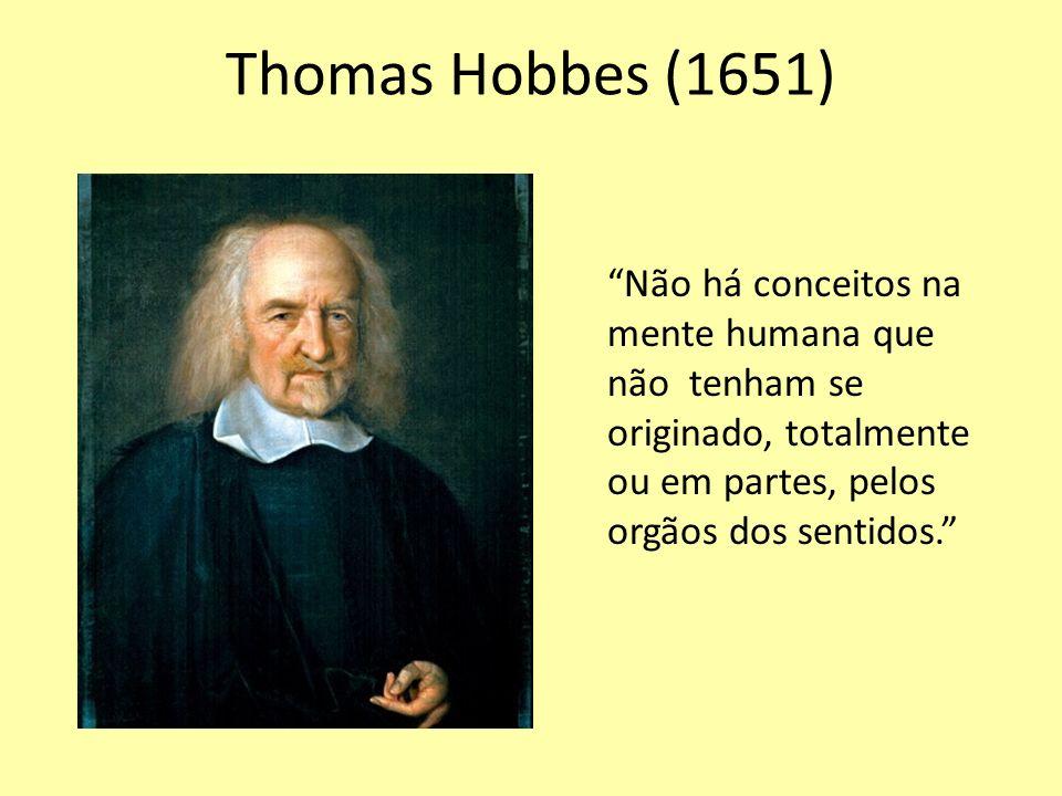 Thomas Hobbes (1651) Não há conceitos na mente humana que não tenham se originado, totalmente ou em partes, pelos orgãos dos sentidos.