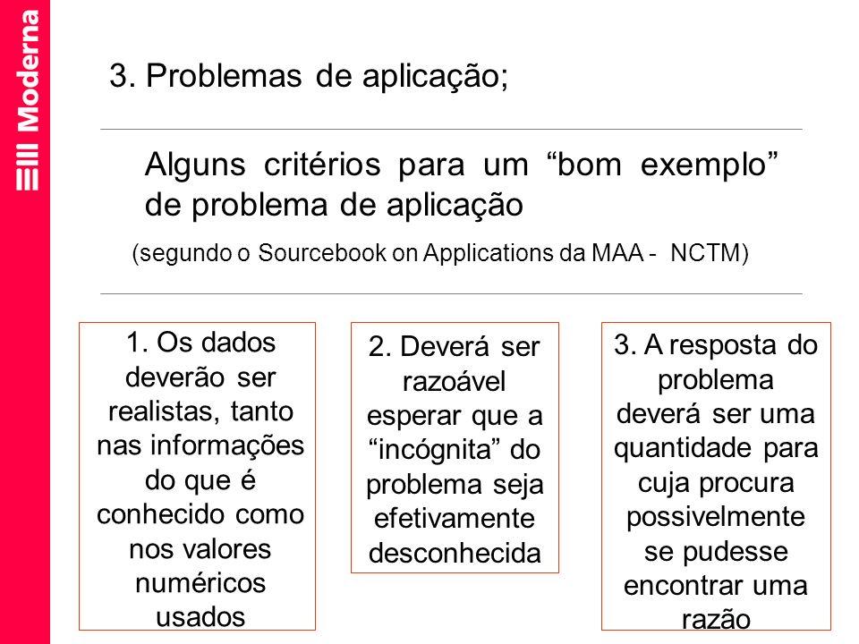 (segundo o Sourcebook on Applications da MAA - NCTM)