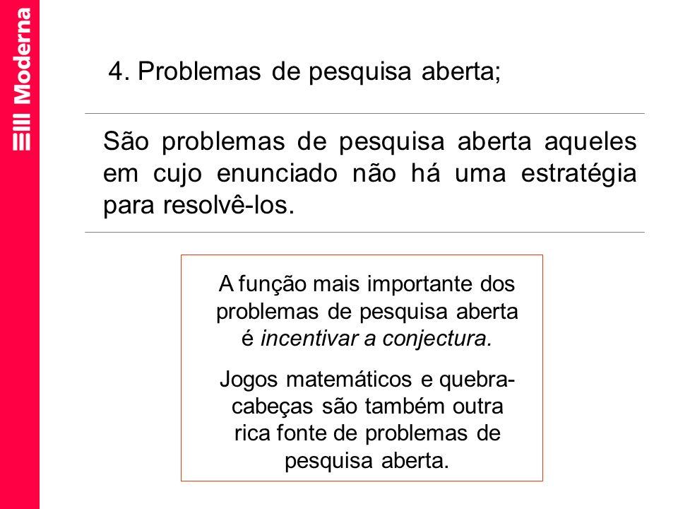 4. Problemas de pesquisa aberta;