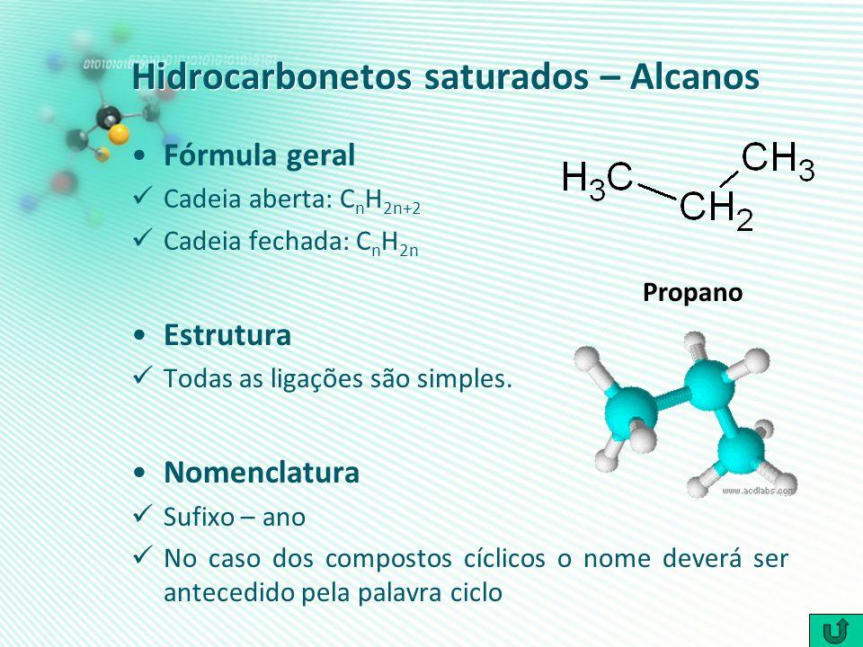 Hidrocarbonetos saturados – Alcanos