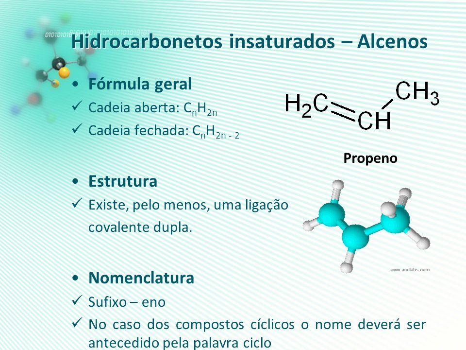 Hidrocarbonetos insaturados – Alcenos